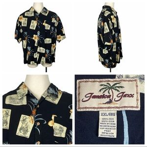ExcCond Jamaica Jaxx 100% Silk Button Down XXL